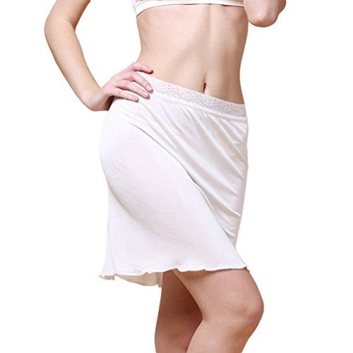 Dexinx Mujeres Half Slip Cintura Elástica de Encaje de Longitud