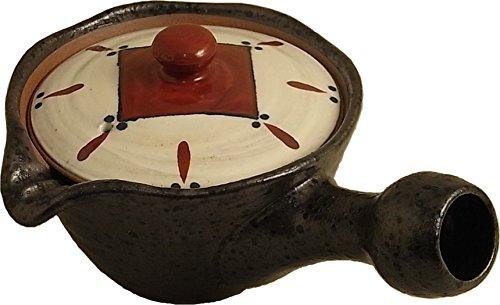 Imari Tetera Kyusu de cerámica japonesa Arita-yaki negra esmaltada con tapa colorida, 260 ml 03904036 σ (Cocina)
