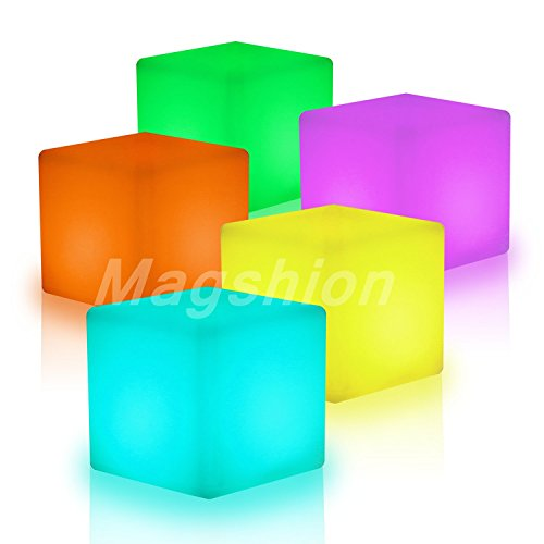 Magshion16' Cube LED Color Light Stool Outdoor Indoor Home Decor Tables Chair Seat