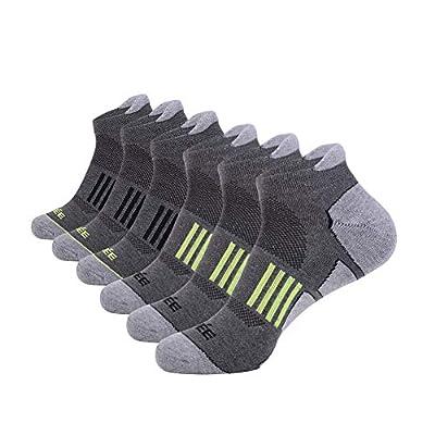 JOYNÉE Men's 6 Pack Athletic No Show Performance Comfort Cushioned Low Cut Running Tab Socks,Grey,Sock Size:10-13
