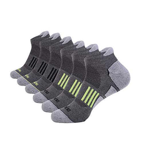 Price comparison product image JOYNÉE Men's 6 Pack Athletic No Show Performance Comfort Cushioned Low Cut Running Tab Socks, Grey, Sock Size:10-13