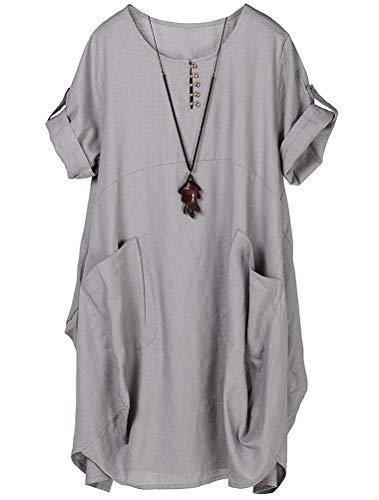 Lavnis Damen Leinen T-Shirt Tunika Kleid Rundhals Kurzarm Midi Kleid Grau XL