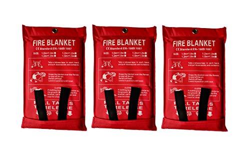 Toneeko Manta de emergencia para incendios de supervivencia, protección ignífuga y aislamiento térmico diseñado para cocina, chimenea, parrilla, coche, camping, blanco (3 unidades)