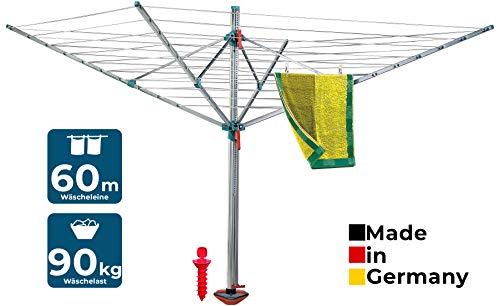 BLOME Wäschespinne Standard Idea - Wäscheständer Komplett-Set inkl. Bodenhülse zum eindrehen & Schutzhülle, Wäscheschirm mit 60m Wäscheleine, komfortable Öffnungsmechanik