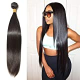 Benehair Human Hair Bundle Weft Silky Straight Sew in Brazilian Remy Hair Weave Natural Black 28 inches for Afro American Women #1B 1 Bundle 100g