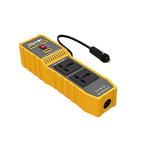 OUZHOU 200 W inversor de corriente de coche protector DC 12 V a CA 110 V convertidor con 2 salidas de CA 3 interfaces USB encendedor cargador adaptador para coche camping viaje
