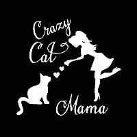 15.5X14.4CMクレイジー猫ママカーステッカー猫ママ猫レディービニールカーウィンドウステッカーブラック/シルバー mihchenghuozhan (Color Name : Silver)