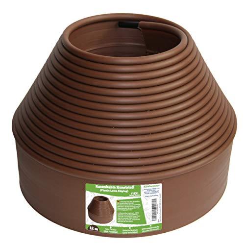 Flexible Borde de Jardín - Bordillo Escondido Plastico, Longitud 12 m - Instalación Simple, Flexibilidad Máxima - Fabricado del reciclado PE - Color Marrón UV estable, Borduras Jardín Rollo