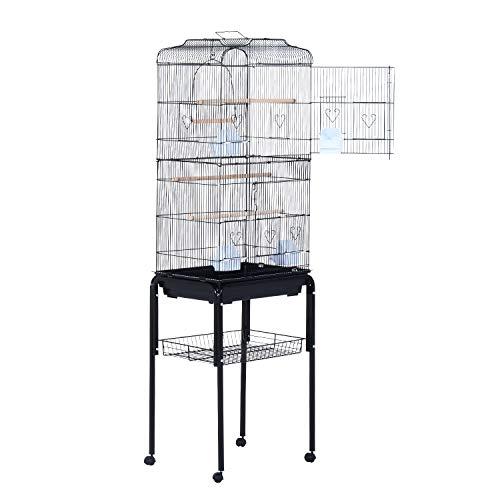 Pawhut Jaula de Pájaros con 2 Puerta Jaulas para Aves con 4 Ruedas Universales Jaulas para Canarios Loros 47.5×37×153cm Negro