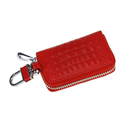 FakeFace Kroko Optik Autoschlüssel Etui Schlüsseltasche Schlüsselbörse Schlüsseletui Schlüsselanhänger Schlüsselmäppchen Tasche (Rot)