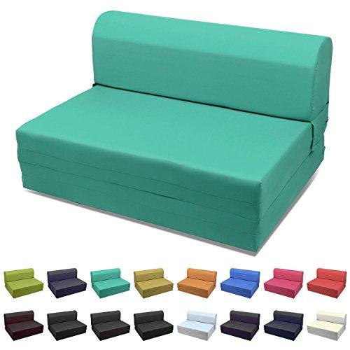 Magshion Futon Furniture Sleeper Chair Folding Foam Bed Choose Color & Sized Single,Twin or Full (Twin (5x36x70), Teal Green)