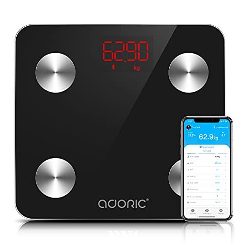 Bilancia Pesa Persona Digitale, Adoric bilancia digitale con IMC ad alta precisione, monitor di peso corporeo massimo 180 kg per Android (4.0 e superiore) e iOS (8.0 e superiore) (nero scuro)