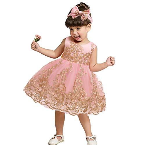 FYMNSI Vestido de fiesta para bebé, para cumpleaños, bautizo, sin espalda, bordado, sin mangas, formal, con cinta para la frente., Rosa + Encaje, 0-3 Meses