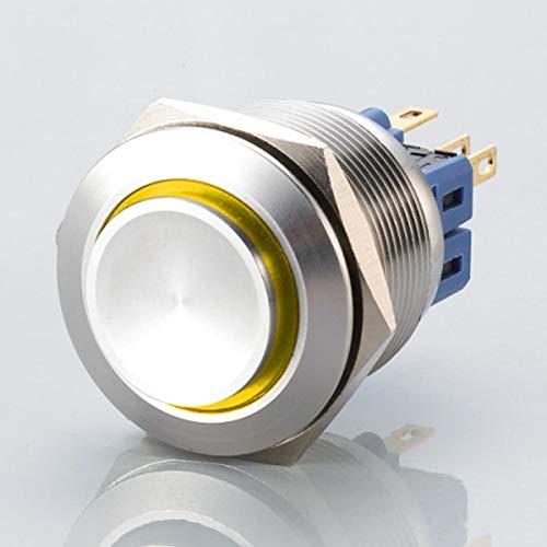 Hervorstehender LED Schalter - Durchmesser Ø 25 mm - aus V2A Edelstahl - staub - und wasserdicht nach IP67 Schutzstandard AC/DC - witterungsbeständig - Gelb