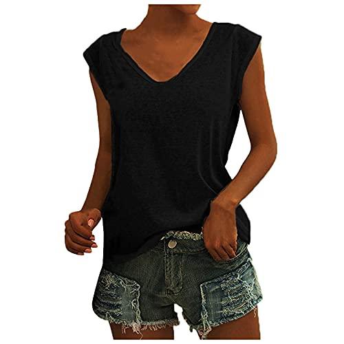 Aahkloijw Camiseta de verano para mujer, sin mangas, chaleco, camisa, top, informal, cuello en V, para el día a día, camiseta deportiva, mejor moda con estampado de rejilla, camisetas básicas Negro L