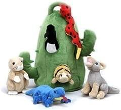Plush Cactus Desert Animal House with Animals - Six (6) Stuffed Desert Animals (Snake, Lizard, Armadillo, Coyote, Prairie Dog, Roadrunner) in Play Cactus Carrying House