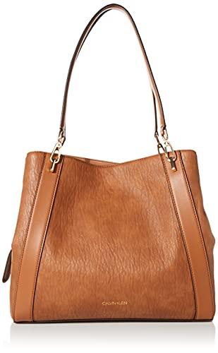 Calvin Klein Ellie Novelty Large Triple Compartment Shoulder Bag, Caramel