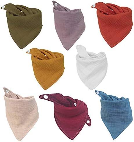 Baby Bandana Bibs Muslin Drool Bibs Breathable Super Absorbent Soft Cotton Scarf Bibs Snap Closure product image