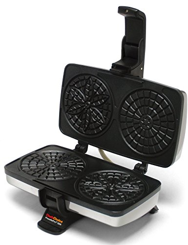 Chef'sChoice 834 PizzellePro Toscano Nonstick Pizzelle Maker Features Baking Indicator Light Consistent Even Heat Press Delicious Pizzelles in Seconds, 2-Slice, Silver (Renewed)