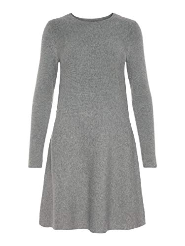 VERO MODA Damen Strickkleid Langärmeliges SMedium Grey Melange