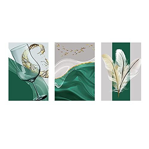 Impresión en lienzo Taza abstracta Pluma Pintura verde sobre lienzo Carteles e impresiones Imágenes artísticas de pared para la sala de estar Decor del hogar Decor de interiores 50x70cmx3 Sin marco