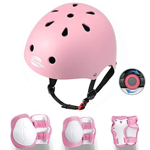 Dostar Kids Protective Gear Set, Toddler Adjustable Helmet for Age 3-8 Youth Boys Girls, Kids Bike Helmet Knee Elbow Pads Wrist Guards for Multi-Sports Skateboard Scooter Roller Skating (Pink)
