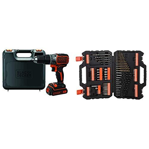 BLACK+DECKER BL188K-QW Trapano Avvitatore a Percussione Brushless, con Batteria + A7200-XJ Titanium Set per Forare ed Avvitare, 109 Pezzi