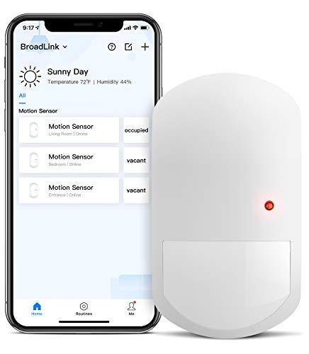 BroadLink Sensor Inteligente de Movimiento, sensor PIR inalámbrico 2.4G para Domótica -Iluminación de espacios- Activación de dispositivos - Compatible con Alexa e IFTTT - Requiere S3 Hub(Con Hub)