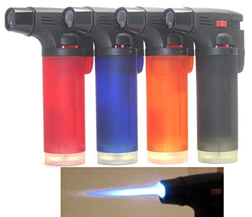 Pack of 4 Single Jet Flame Torch Lighter Windproof Refillable Jumbo Lighter