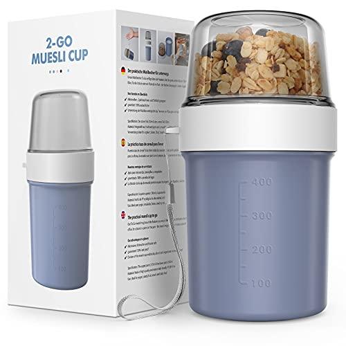 Jim's Store 2 in 1 Müslibecher to go Joghurtbecher to go Kaffeebecher Plastikbecher Praktischer Auslaufsicher geeignet für Kinder und Büroangestellte (Denim blau, 560ml+310ml)