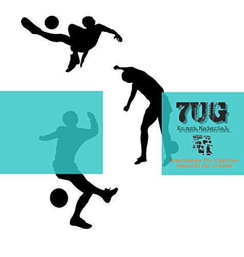 7UG Schablone, DREI Fussball Spieler, Football Players, Bundesliga, Sport