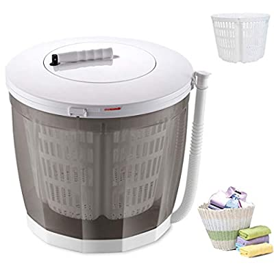YDCW Mini Portable Washing Machine,Manual Non-Electric And Clothes Spin Dryer Compact Laundry,Stacked Washer Combo Small Semi-Automatic for Dorms Rvs Camping Etc,Gray,A