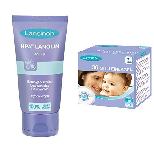 Lansinoh 99302 HPA Lanolin Brustwarzensalbe, 40 ml with Lansinoh 44260 Stilleinlagen, 36 Stück