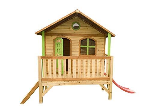 Beauty.Scouts Holzspielhaus Vegard mit Veranda + Leiter + Rutsche 212x349x233cm aus Holz in braun Kinder Spielhaus Kinderspielhaus Gartenhaus Holzhaus Stelzenhaus