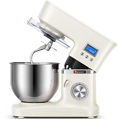 Hauswirt Stand Mixer, 4.5-quart Tilt-Head Kitchen Mixer with Digital Timer, 8 Speeds & Pulse, Planetary Mixing, Includes Dough Hook, Wire Whip, Flat Beater, Pouring Shield, Slicer/Shredder Attachment