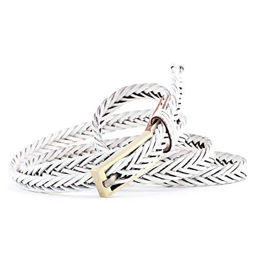 Cinturones para mujer Cinturones trenzados para las mujeres con cordones de color Correa de cuero Cinturón de mujer para vestido Jeans Para el vestido , jeans ( Color : Blanco , tamaño : Free size )