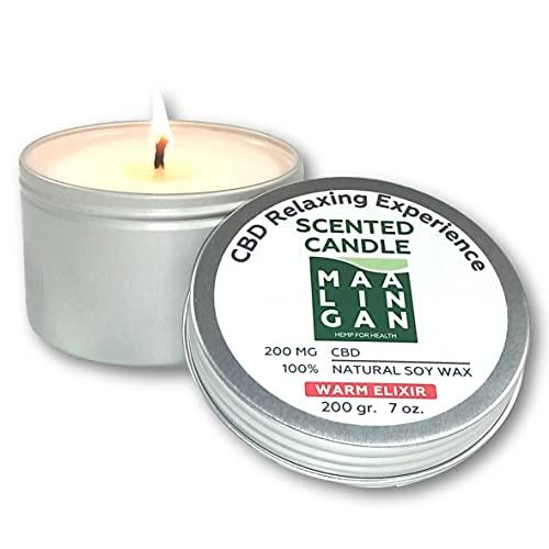 Geurkaars met cannabidiol (CBD) van natuurlijke sojawas met ontspannende werking. Handgemaakt product Made in Italy.