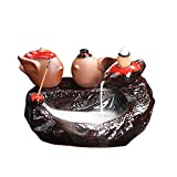Tmore Ceramic Backflow Incense Holder Waterfall Incense Burner, Cute Father Christmas Snowman Pattern,Aromatherapy Ornament Home Decor (Birds:140x120x110mm)