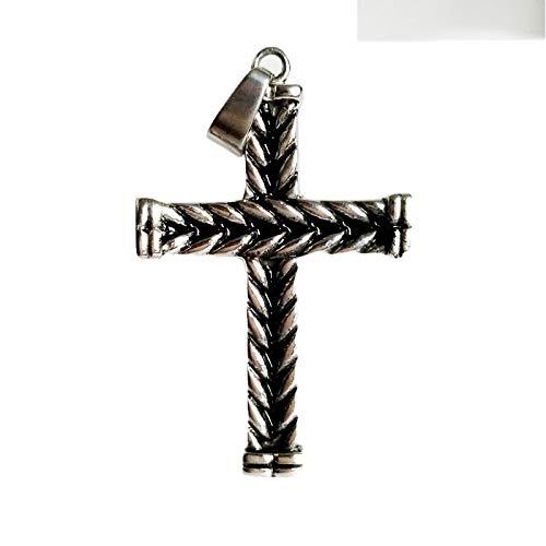 YQMR Colgante Collar para Mujer,Gótico Vintage Colgante Collar Grabado Cruz Oración Colgante Joyería Náutica Unisex Regalo Clásico para Parejas Cumpleaños Dama Aniversario De Boda