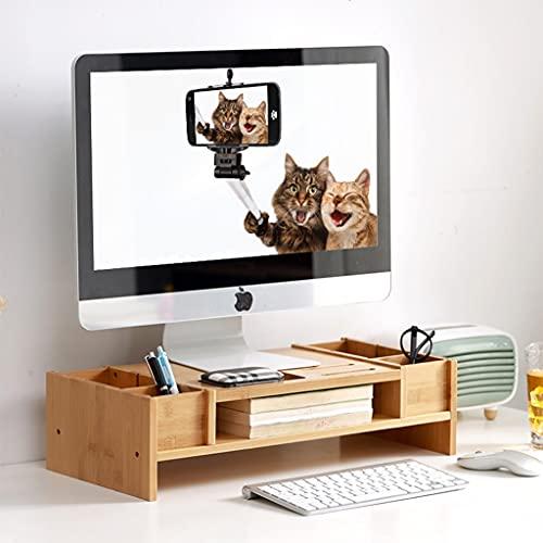 SUNDAY HOME Monitor de Soporte de Elevador para Escritorio con Compartimento de Almacenamiento, Monitor de computadora de bambú 2 Niveles 2 Niveles, elevadores de Madera para Pantallas Organizador