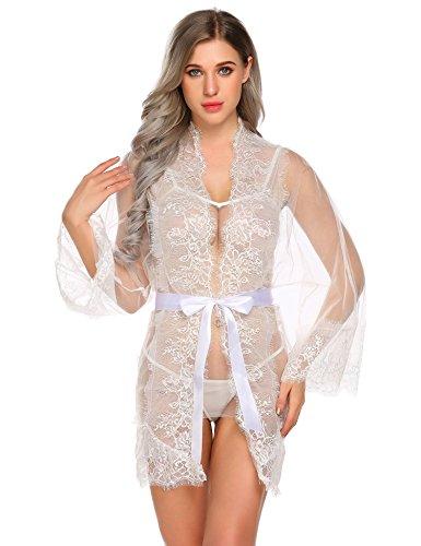 Livesimply Women's Cotton See Through Lingerie Robe Set