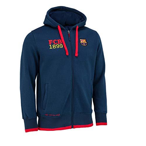 Trainingsjacke mit Reißverschluss und Kapuze. Offizielles Produkt von FC Barcelona, Erwachsenengröße für Herren S blau
