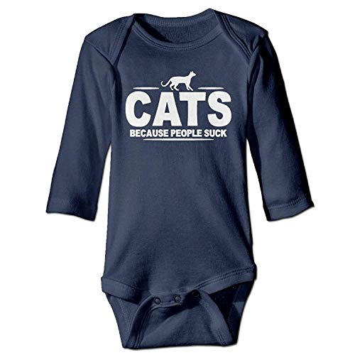 MSGDF Unisex Toddler Bodysuits Cats Because People Suck Boys Babysuit Long Sleeve Jumpsuit Sunsuit Outfit Navy