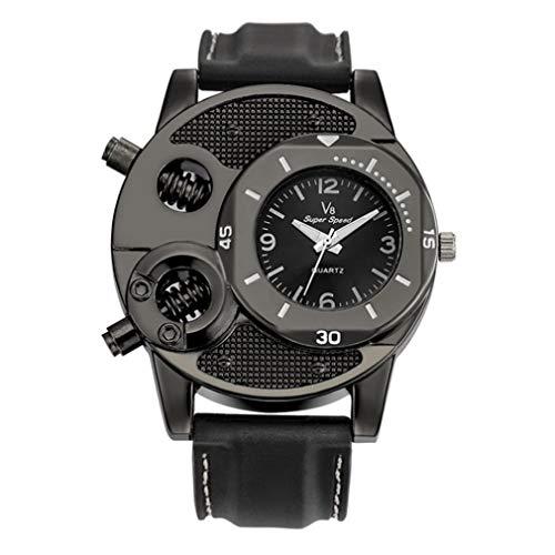 fawox V8 Men Casual Reloj de Pulsera Movimiento de Cuarzo Super Speed Estilo único Negro Analógico Negro