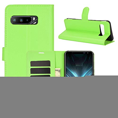 SHUFEIVICC - Funda con tapa para Asus ROG Phone 3 ZS661KS con textura Litchi (tarjetero, función atril, tarjetero, tarjetero, tarjetero), color verde
