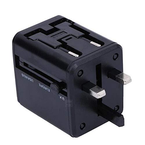 XZYP Adaptador De Viaje, Cargador De Pared De La Corriente Internacional Universal con 2 USB, Todo En Un Adaptador para Europa, Reino Unido, EE.UU, AU, Asia Y Más, 2100Ma,Negro