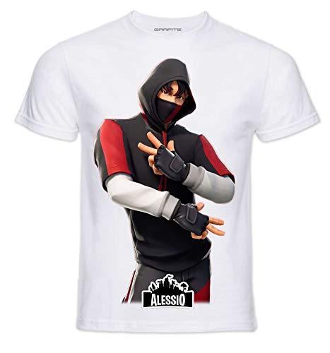 T-Shirt Personaggi Skin PRO' con Stampa Personalizzata. Scegli L'Immagine Che preferisci e personalizzala ►Gratis◄ con Il Nome Che Vuoi (11-12 Anni, IKONIK)