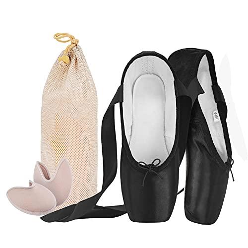 Zapatos de Ballet de Punta Pointe para Mujeres Adultas, con Protector de Gel de Silicona de Dedo del pie y Bolsa de Malla(por Favor Seleccione una Talla más Grande N40)