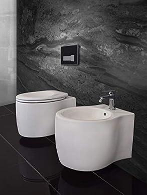 Foto di Yellowshop - Sanitari Bagno Sospesi Filo Muro Modello Koral Vaso Wc + Coprivaso Soft Close + Bidet