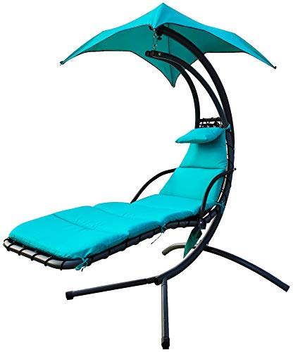 BalanceFrom Hanging Curved Chaise Lounge Chair Swing with Cushion, Pillow, Canopy, Stand and Storage Pouch, 330-Pound Capacity, Aqua